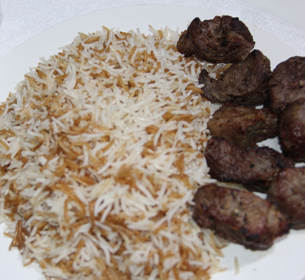Teka Kabab with rice